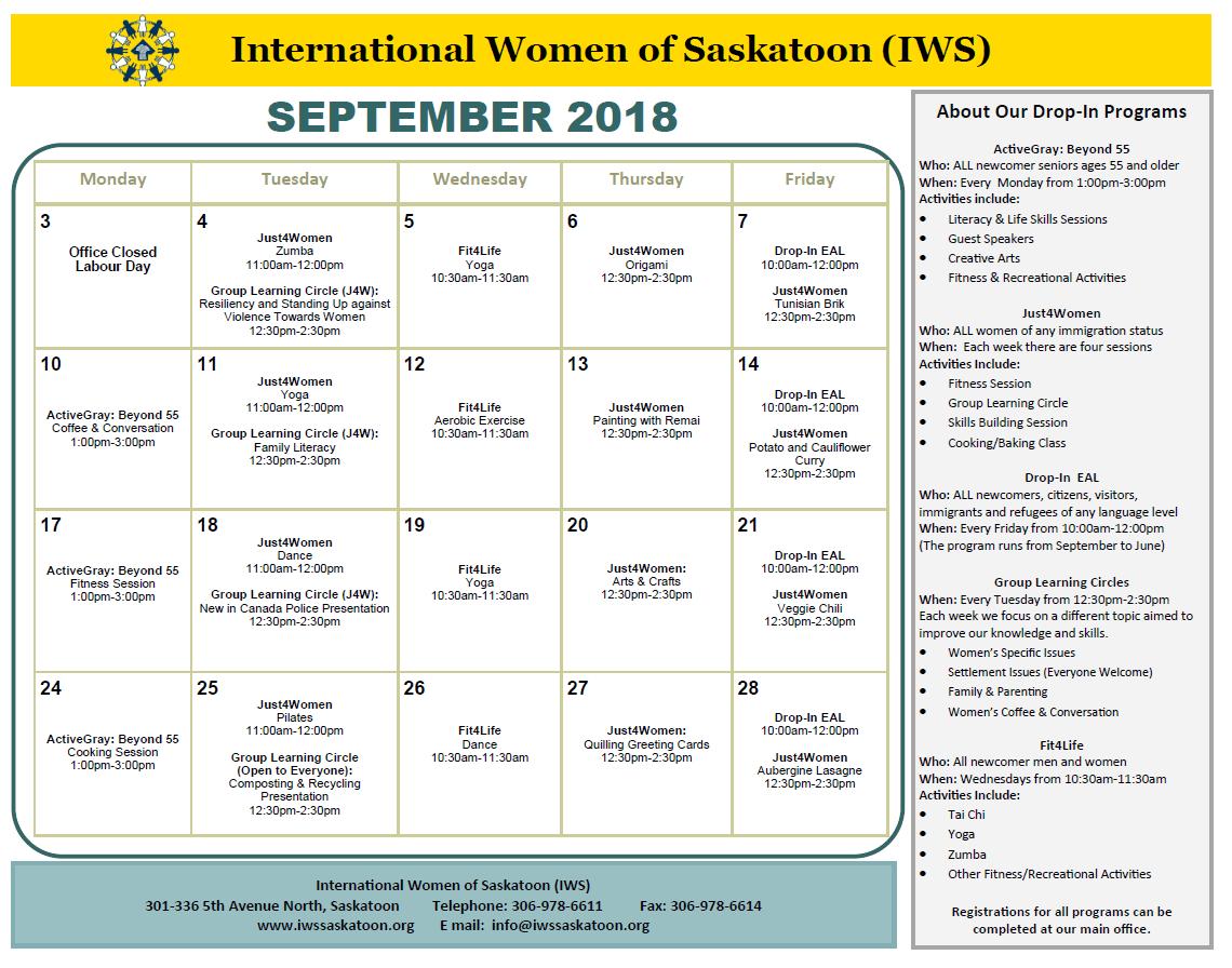 September calendar- updates